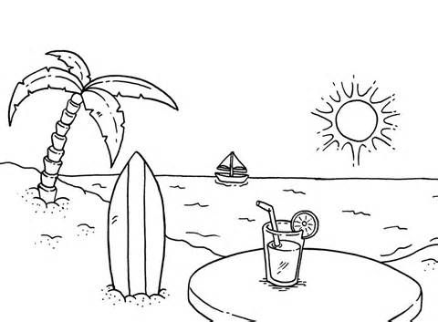 480x353 Beach Coloring Pages Sunset Coloringstar