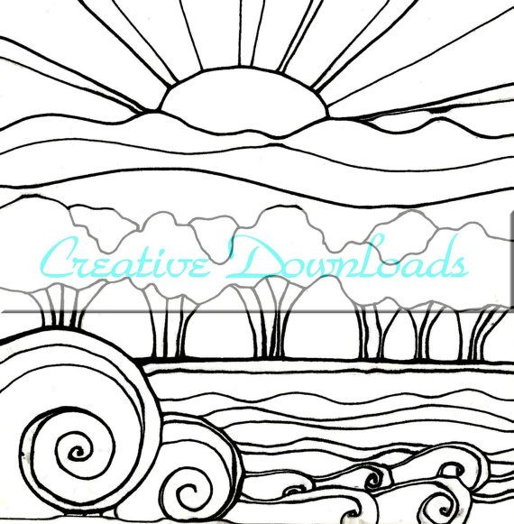sunset line drawing at getdrawingscom free for personal