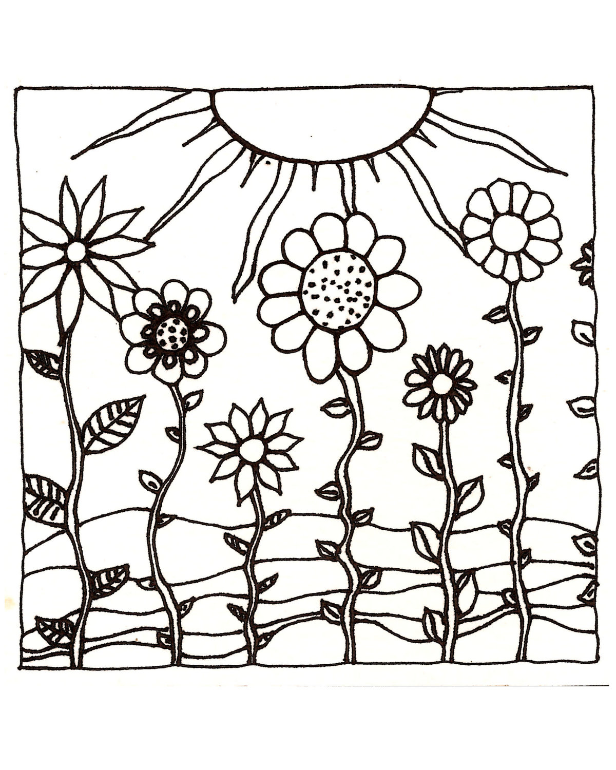 1200x1500 Download Printableadult Coloring Page Digital Hand Drawn Papers By