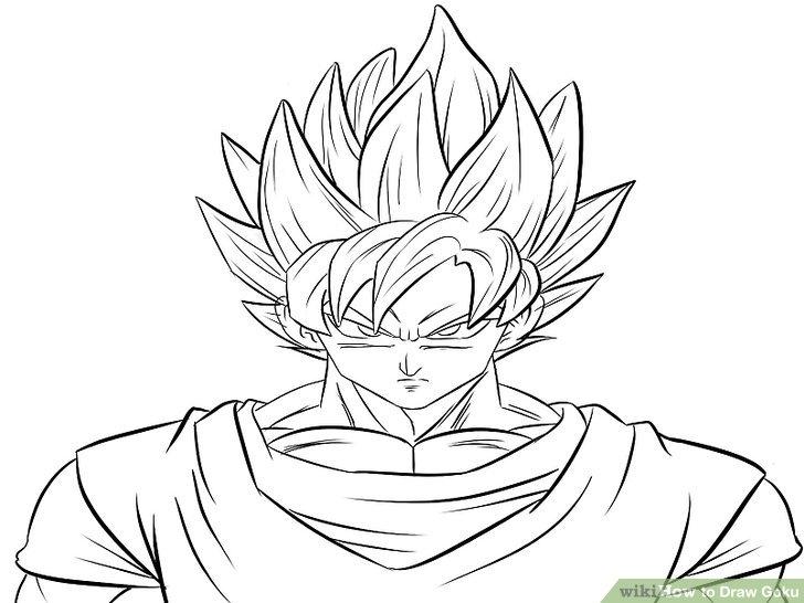 728x546 Goku Super Saiyan Drawing Free