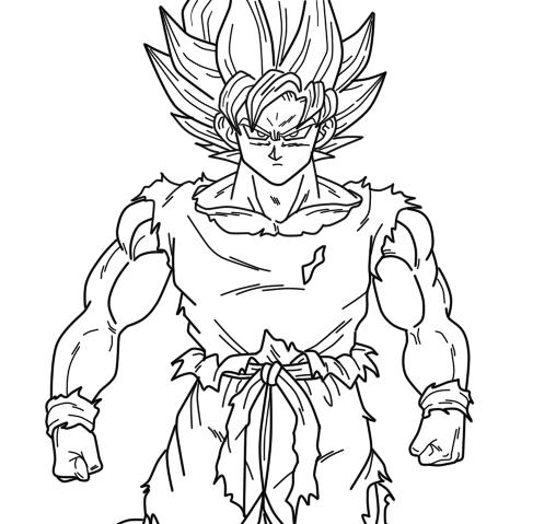 508x479 Super Saiyan Goku Coloring Pages Super Saiyan Goku Coloring
