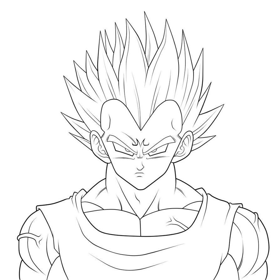 894x894 Dragon Ball Super Vegetas Face Simple Sketch