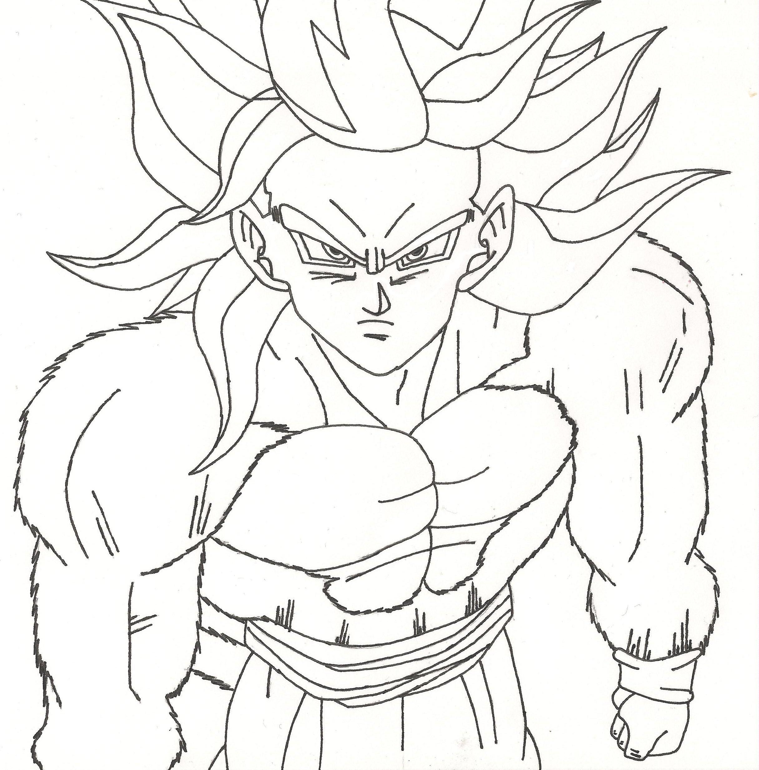 2431x2467 Dragon Ball Z Coloring Pages Goku Super Saiyan 4 Colouring