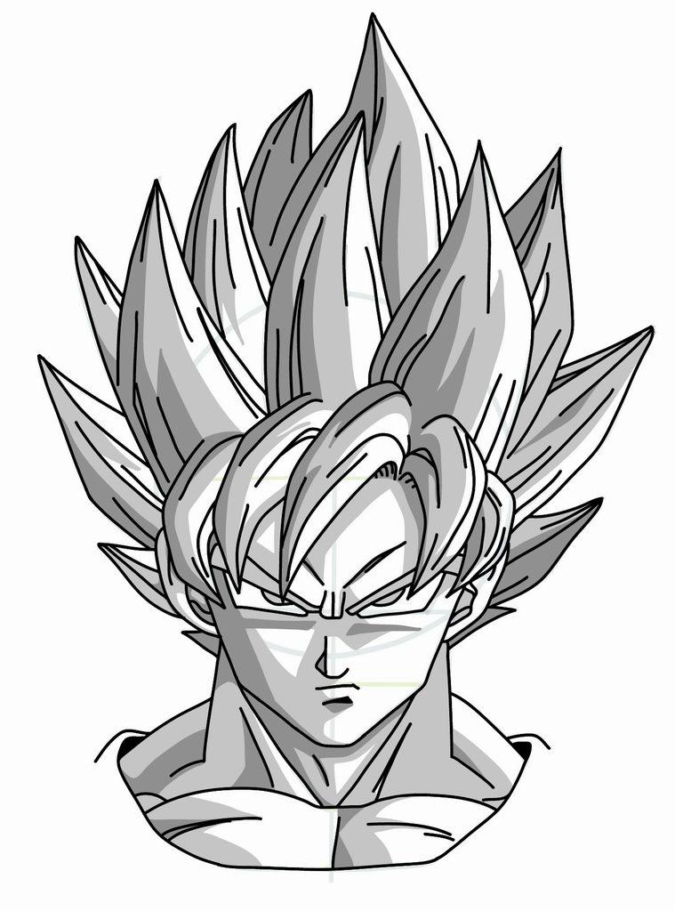 759x1024 Drawing Goku Super Saiyan From Dragonball Z Tutorial Dragonball