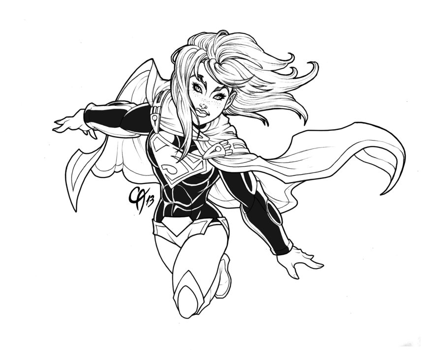 900x720 New 52 Supergirl Linework By Cahnartist