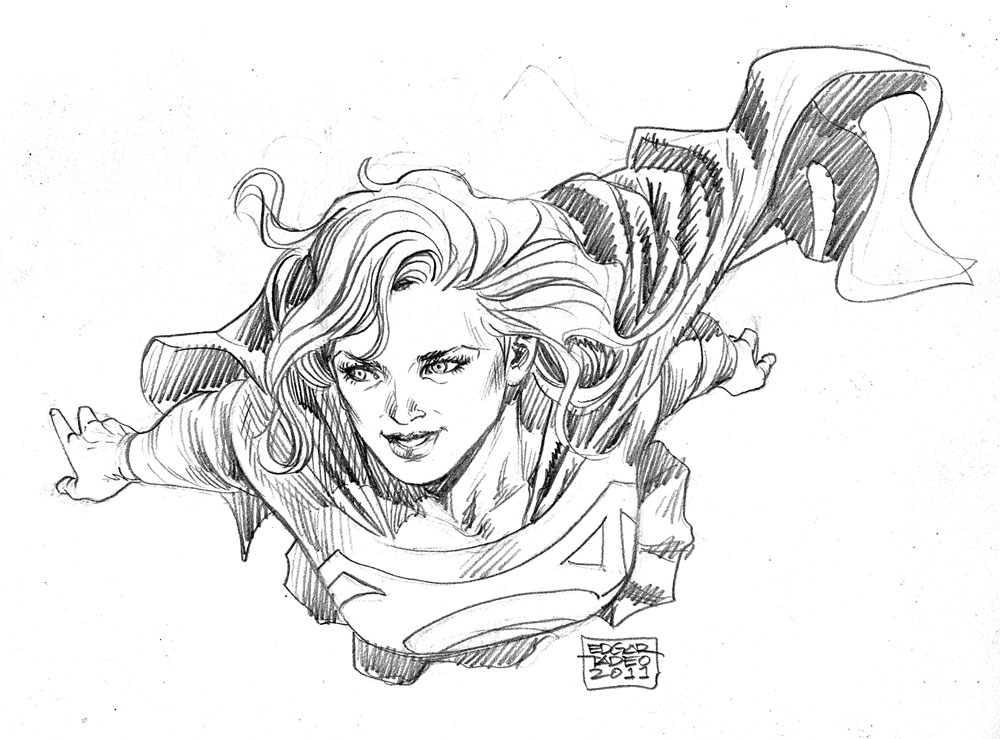 1000x739 Supergirl Fly Sketch By Edtadeo
