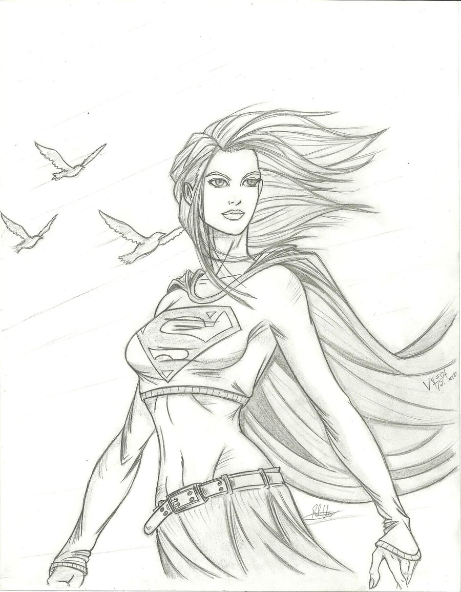 900x1155 Supergirl Quick Sketch By Rv1994