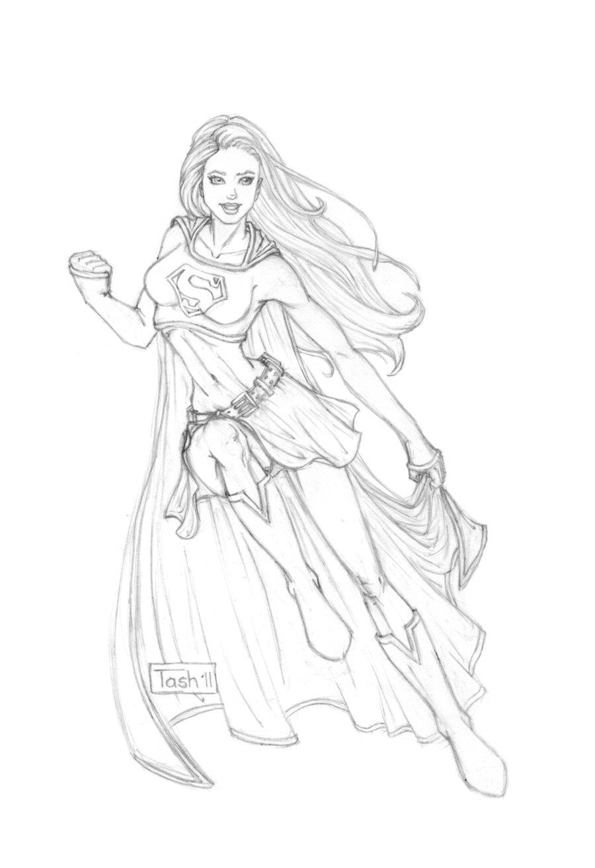 900x1313 Supergirl Sketch By Tashotoole