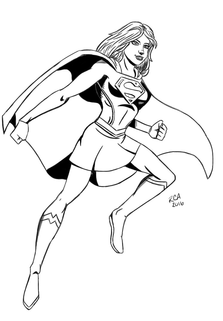 746x1071 Supergirl Drawing By Robertamaya