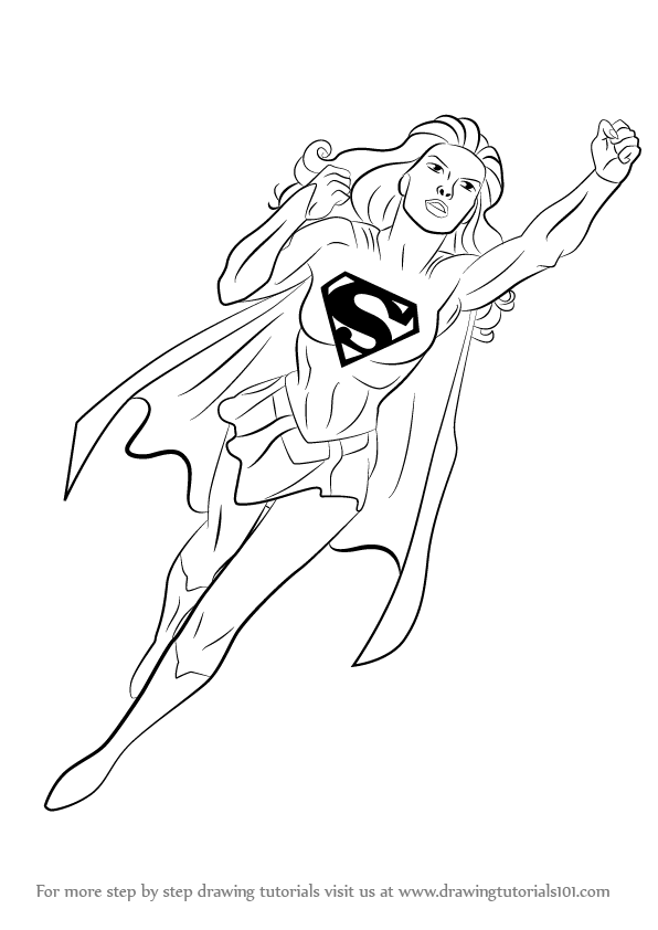 596x842 Learn How To Draw Supergirl (Supergirl) Step By Step Drawing