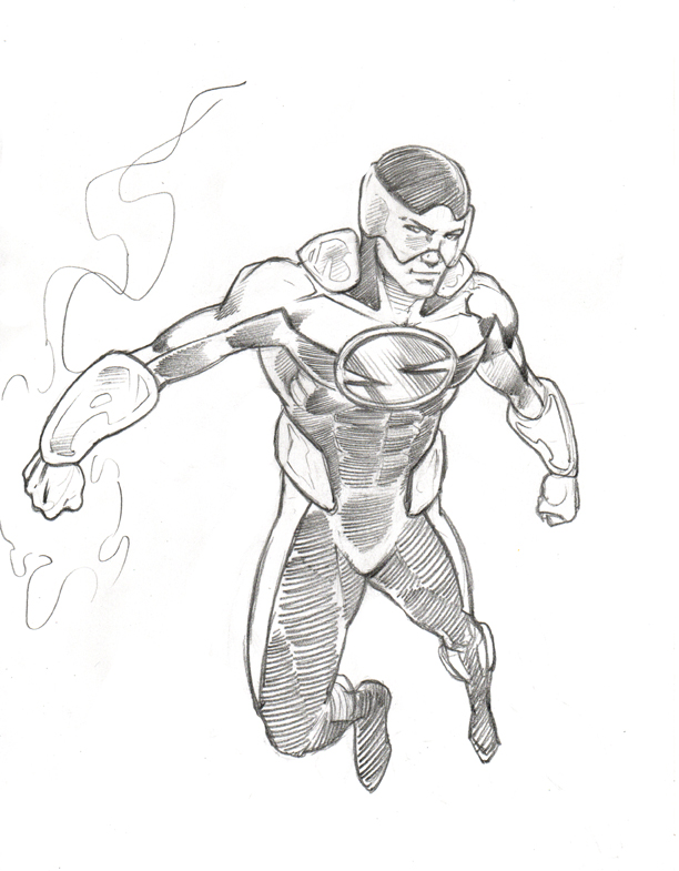 612x785 The Outcast Superhero Drawing By Sweattshop