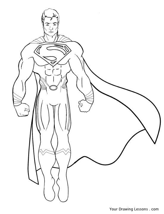 551x716 Superman Drawing A Drawing Of Superman. Black And White