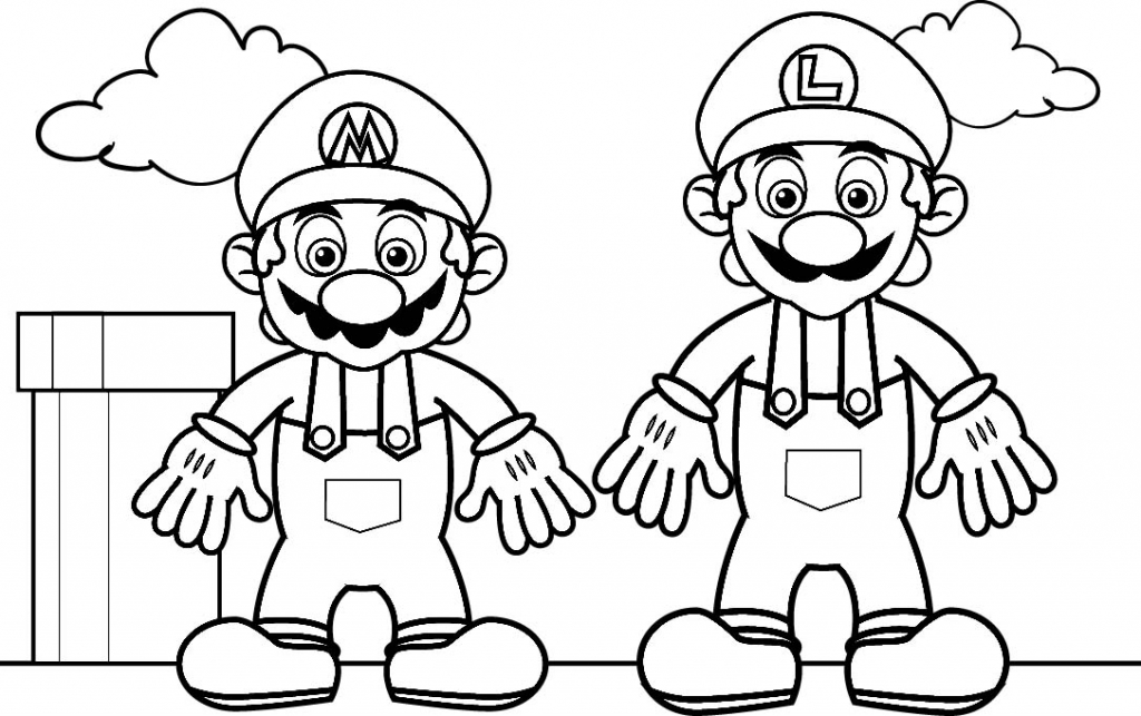 1024x643 Mario Coloring Pages Black And White Super Mario Drawings