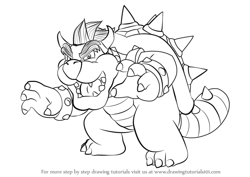 800x567 Learn How To Draw Bowser From Super Mario (Super Mario) Step By