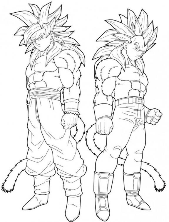 575x755 Dragon Ball Z Goku And Vegeta Turning To Super Saiyan 4 Coloring