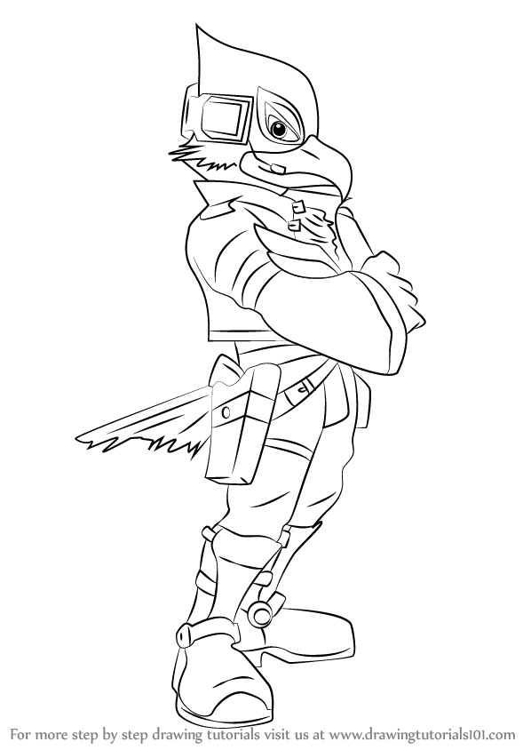 598x844 Learn How To Draw Falco From Super Smash Bros (Super Smash Bros