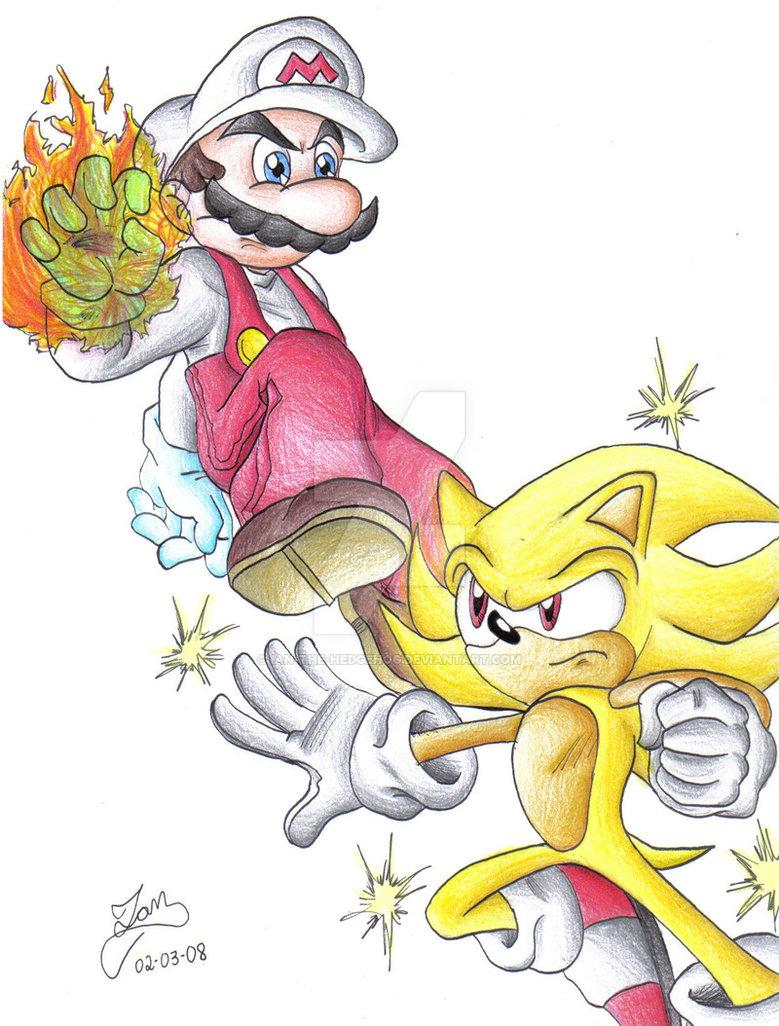 779x1026 Fire Mario Vs Super Sonic By Iandimas