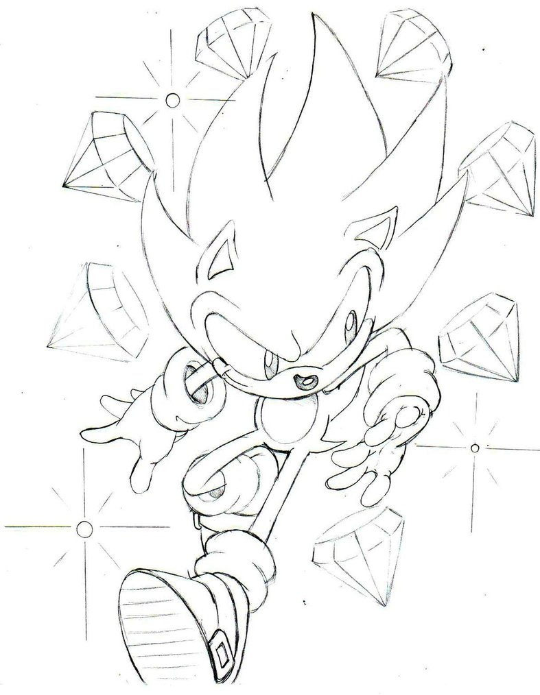 787x1014 Classic Super Sonic Sketch By Trunks24