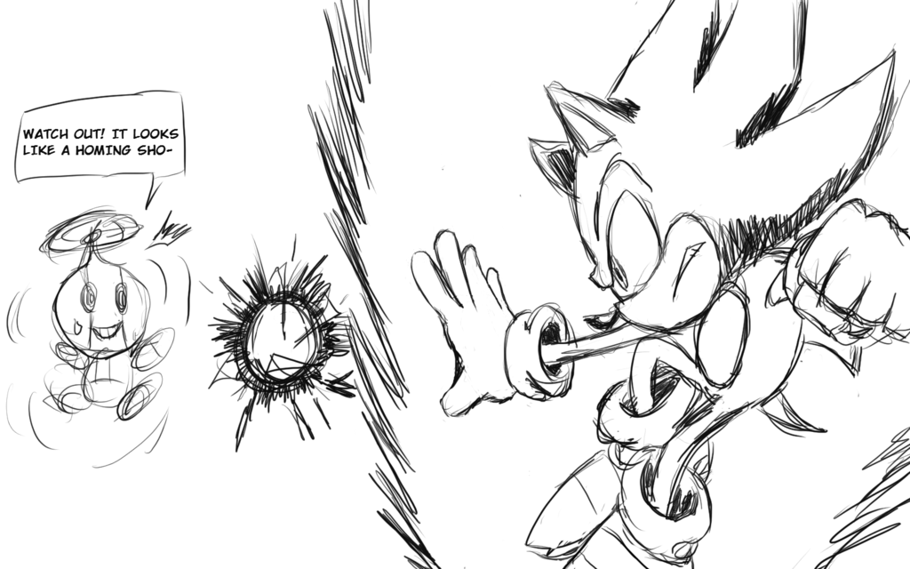 1024x640 Super Sonic Sketch By Gamelordabd2