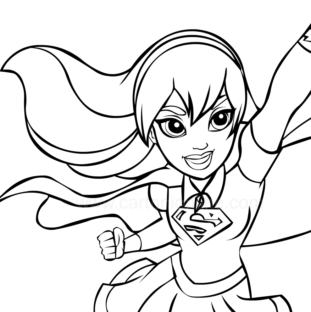 This is a picture of Universal Super Girl Coloring Pages