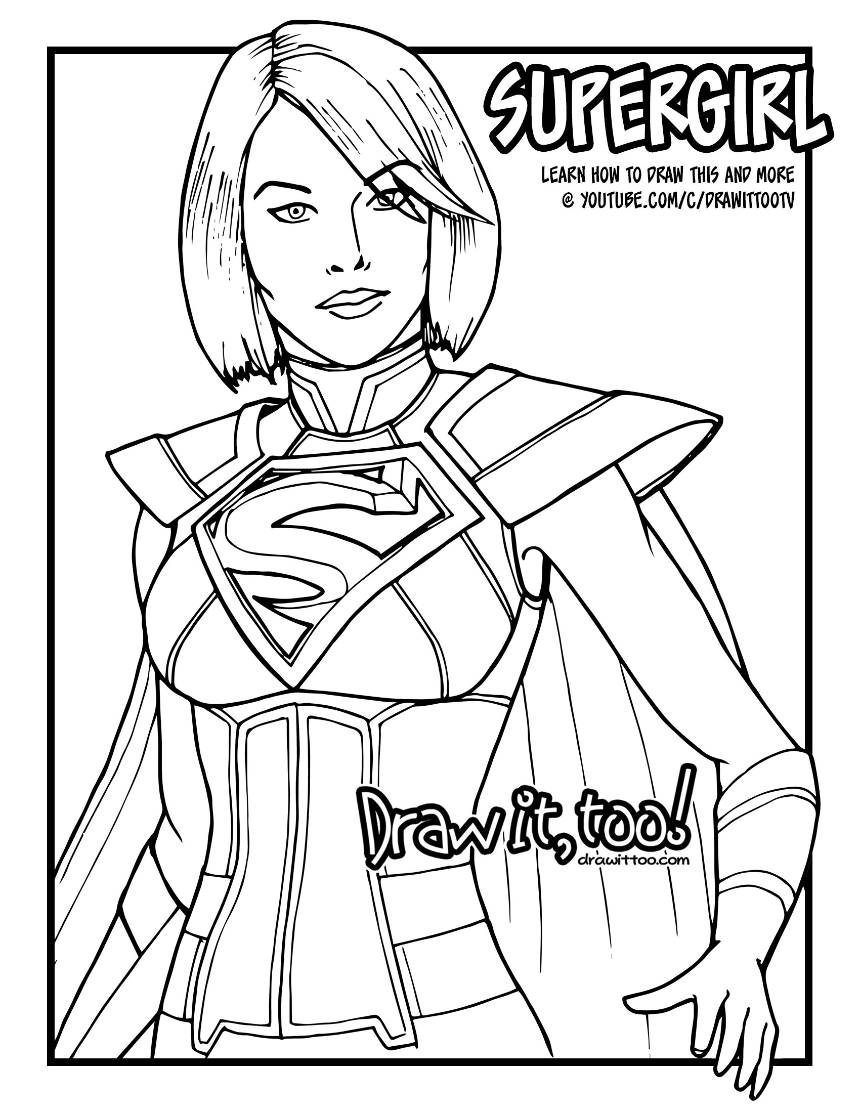 1700x2200 How To Draw Supergirl (Injustice 2) Narrated Easy Step By Step