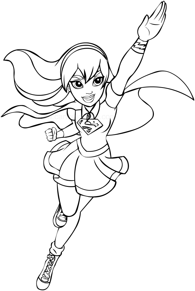 This is an image of Old Fashioned Super Girl Coloring Pages