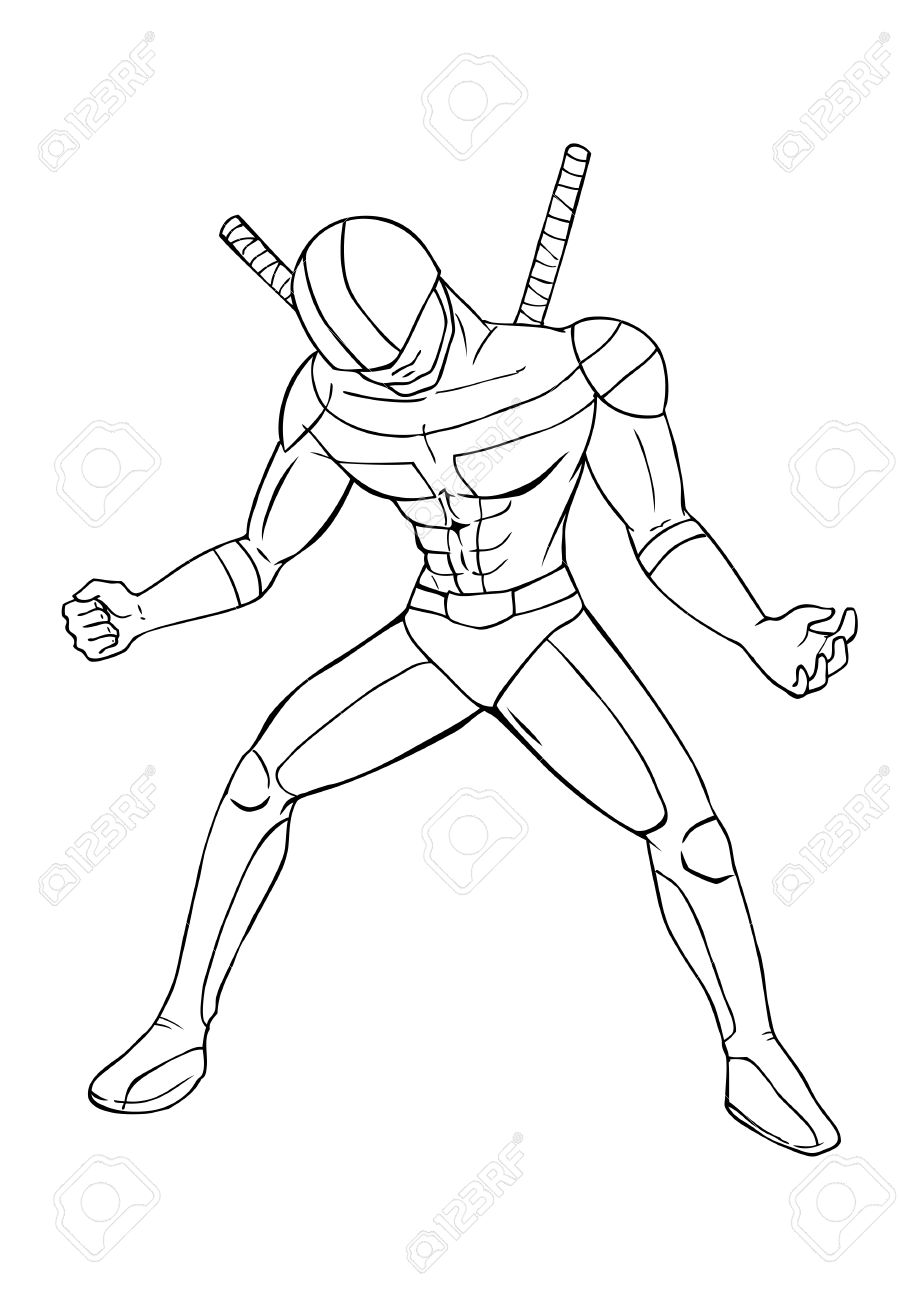 919x1300 Outline Illustration Of A Superhero Royalty Free Cliparts, Vectors
