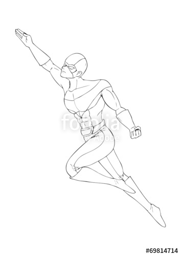 354x500 Outline Illustration Of A Superhero Flying Stock Image