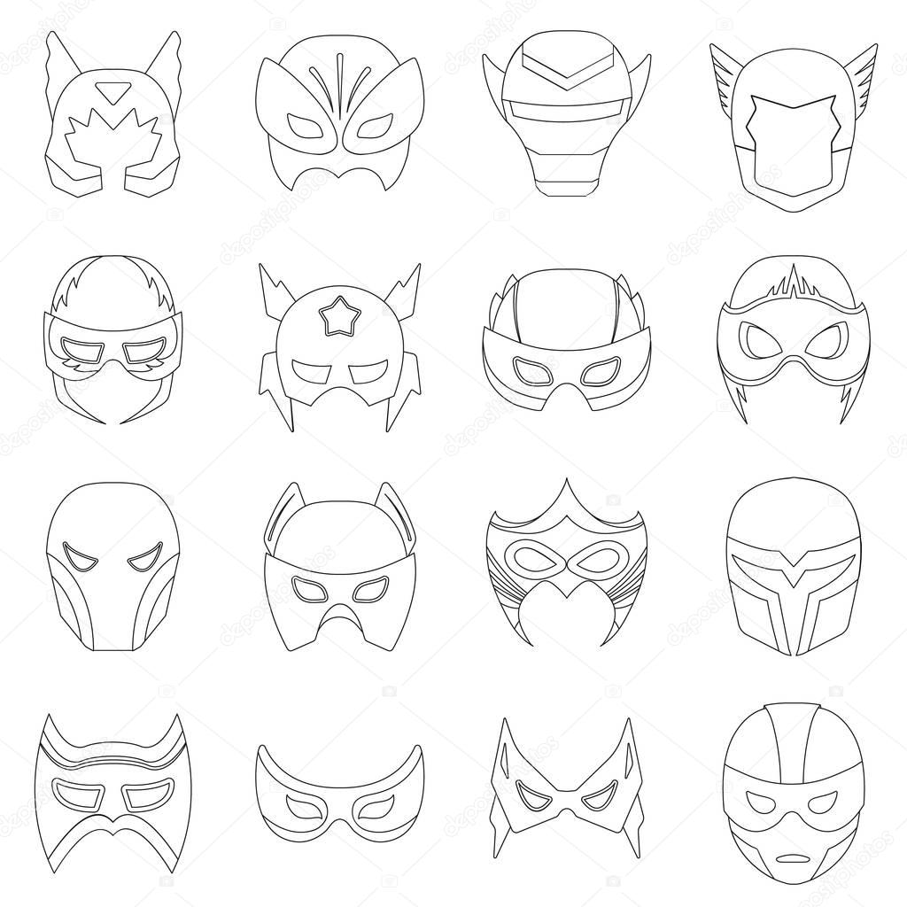 1024x1024 Superhero Mask Set Icons In Outline Style. Big Collection