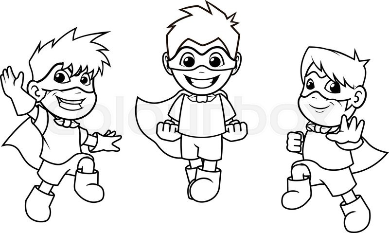 800x479 This Image Is A Kid Super Heroes With Jumping Flying Pose Cartoon