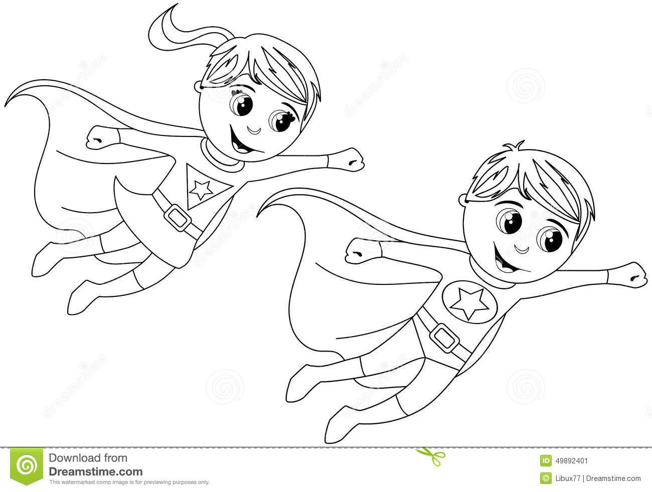 1300x981 Happy Superhero Kid Kids Flying Isolated Coloring Page Stock