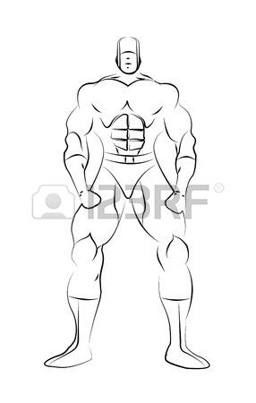 286x450 Male Superhero Line Drawing Template Isoalted On A White