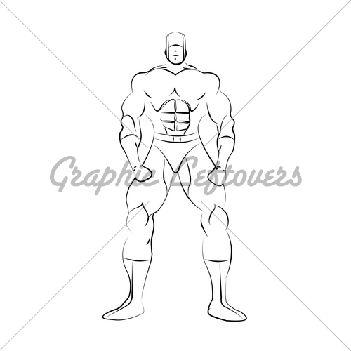 500x500 Male Superhero Line Drawing Template Gl Stock Images
