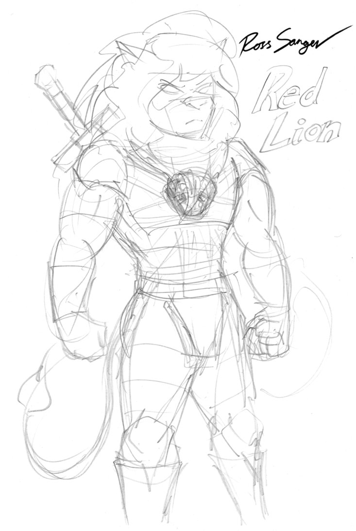 733x1091 Red Lion Superhero Sketch By Ross Sanger
