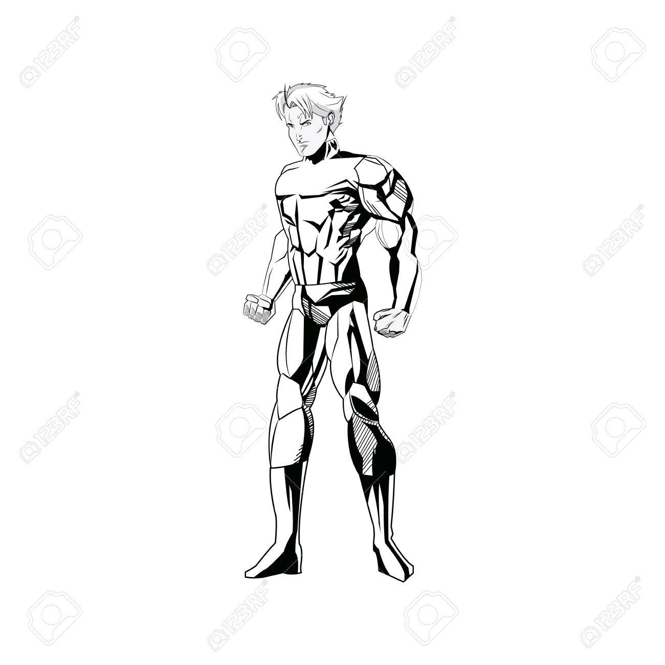 1300x1300 Superhero Figure Standing Proud Image Vector Illustration Royalty