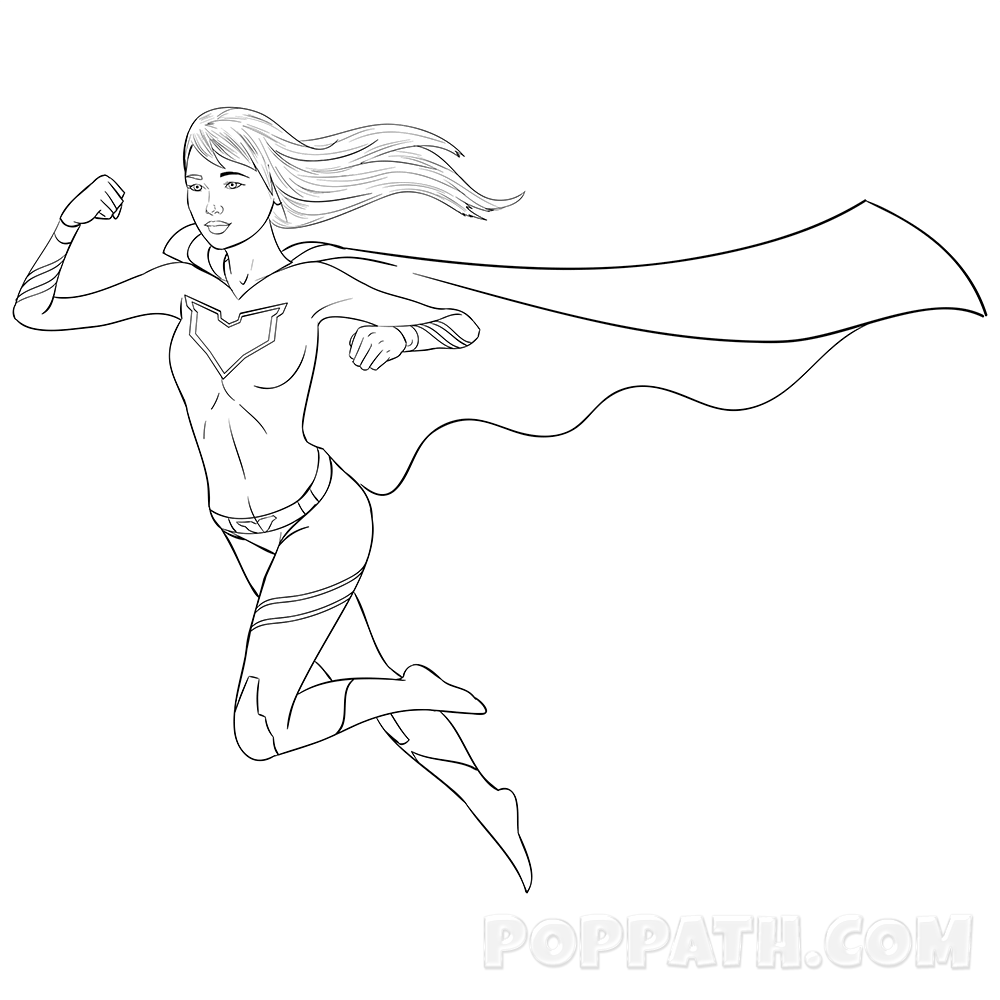 1000x1000 How To Draw A Super Girl Superhero Pop Path