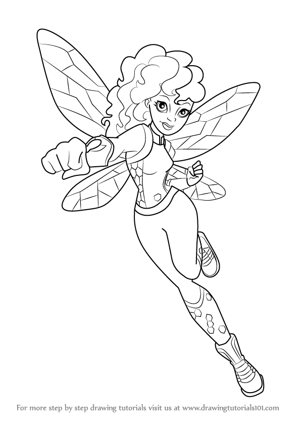 Coloring Pages To Print Superheroes Printable Drawing 596x843 Learn How Draw Bumblebee From DC Super Hero Girls