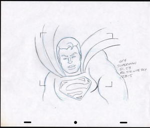 300x255 Original 1970's Superman Cartoon Animation Cel Production Drawing