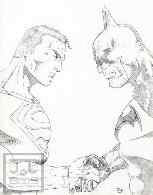 600x764 Superman Vs Batman Sketch2009 By Barfast