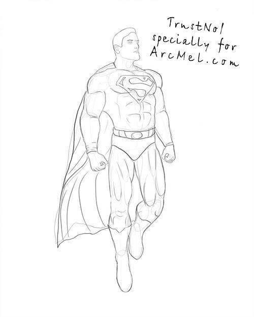 500x625 How To Draw A Superman Step 5 Art Drawing Art