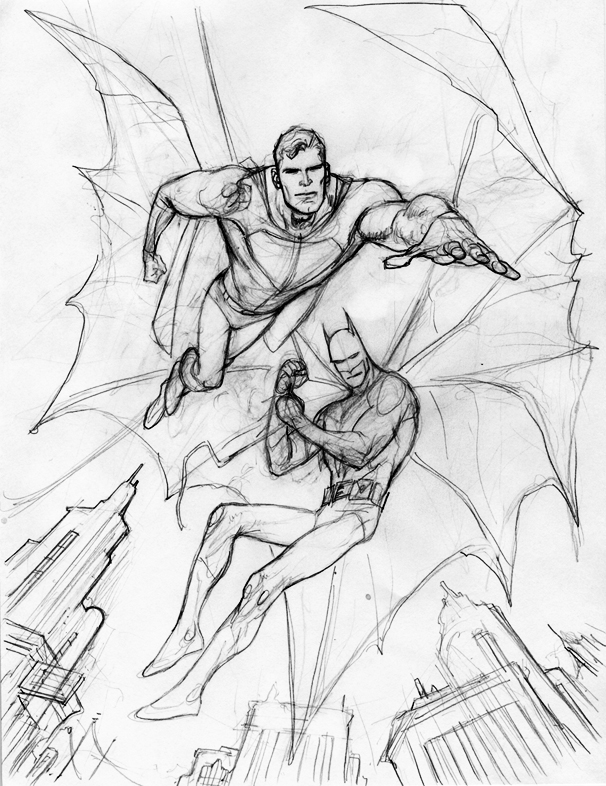 606x786 Kevin Nowlan Old Superman And Batman Commission