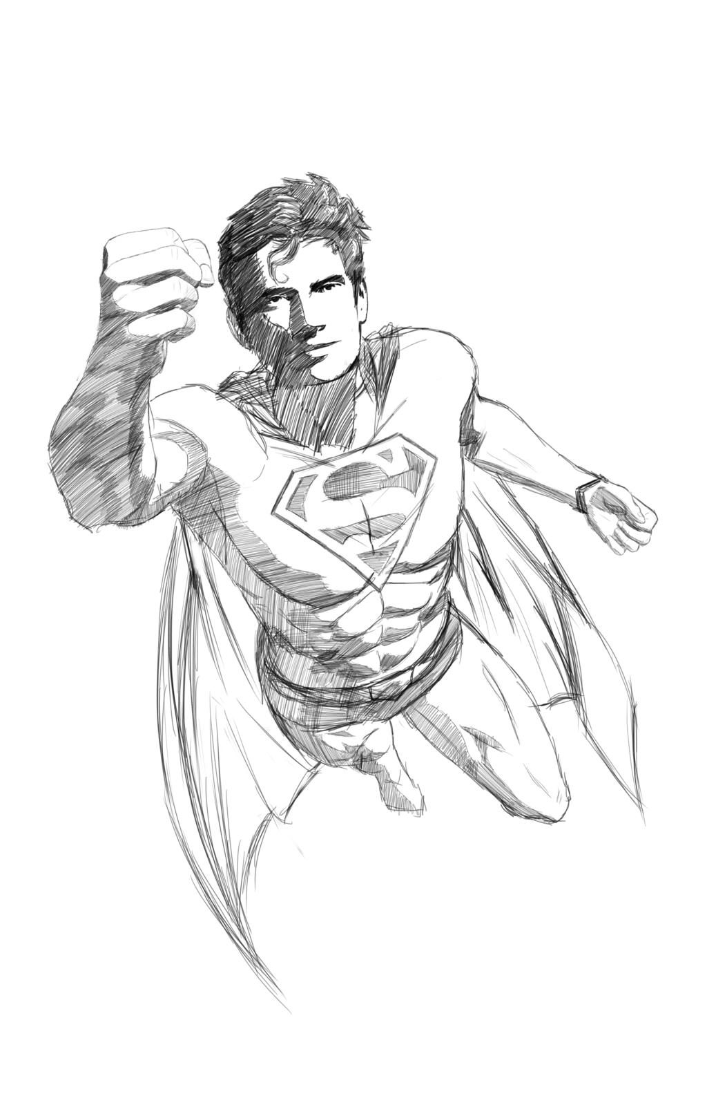 1024x1583 Superman Flying Sketch By Djohnhudd