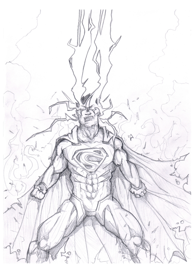 756x1057 Superman Unleashed Drawing By Akthar