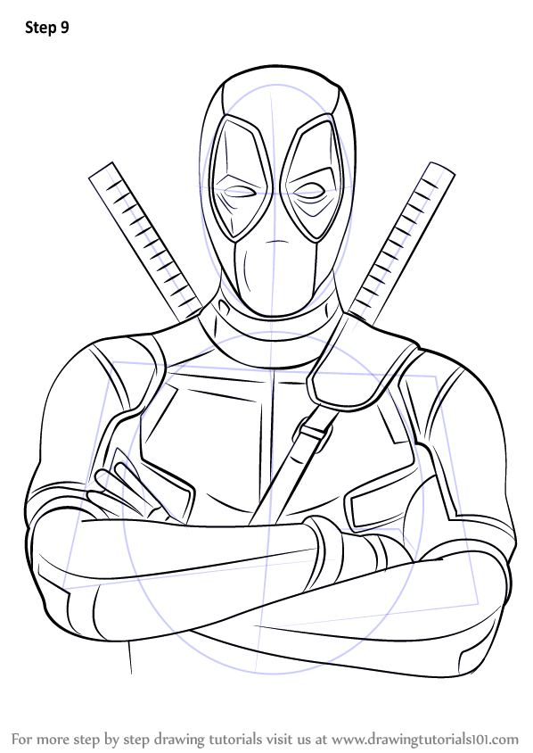 598x844 Learn How To Draw Deadpool (Deadpool) Step By Step Drawing Tutorials