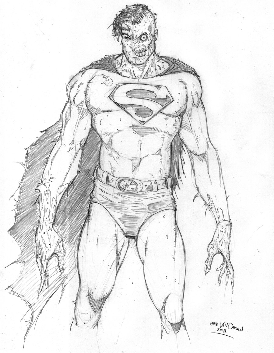 900x1160 Superman Drawing In Pencil Easy Zombie Superman By Mikevanorden