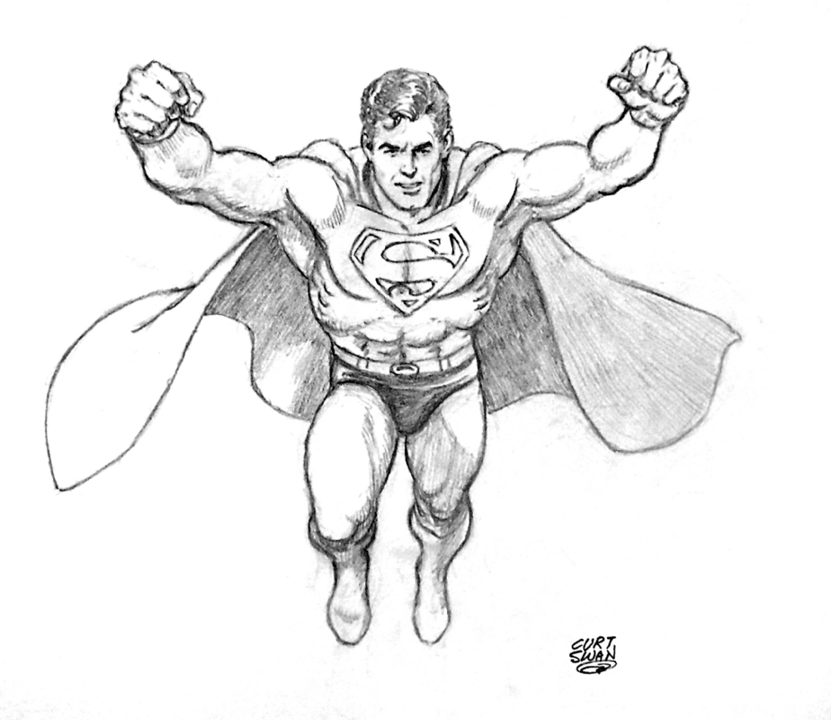 924x800 Superman Pencil Commission By Curt Swan, In Bob Rivard's Specialty