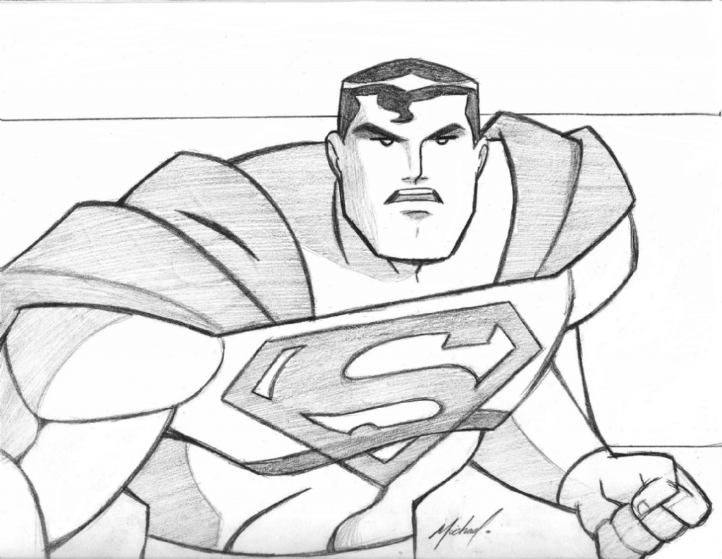 1024x793 Superman Pencil Drawings Superman In Michael Hill39s Sketches