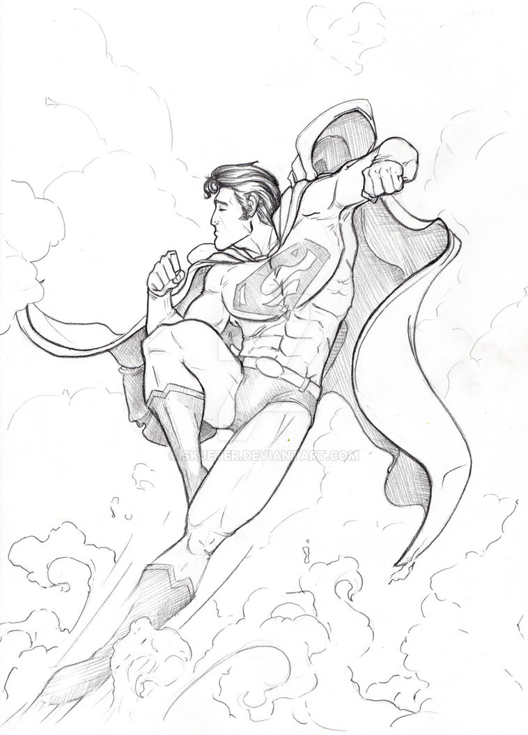 758x1054 Superman Pencil By Skjeter