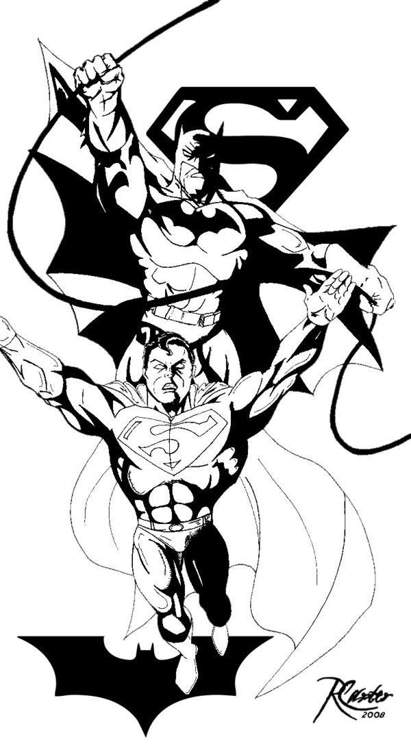 600x1095 Batman Superman Free Sketch By Rcarter