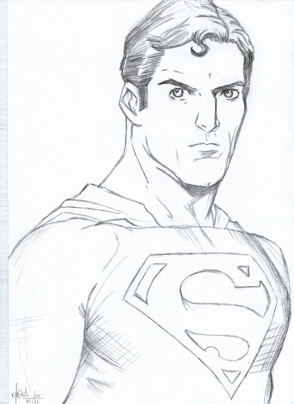1024x1409 Superman Drawing In Pencil Easy